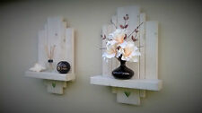 2 WHITE FLOATING SHELF SHELVES WALL SCONCE STORAGE SHABBY CHIC MIRROR HEARTS .