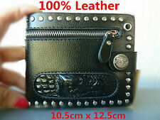 Genuine 100% leather Mens bi-fold wallet. Crocodile design in black with zipper.