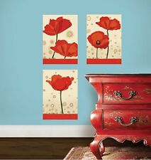WALLIES POPPIES wall stickers 3 decals Flower Mural Panels room decor Red Flower