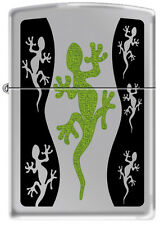 Zippo Green Lizard Gecko High Polish Chrome Windproof Lighter 21149 RARE
