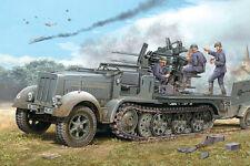 1/35 German WWII Late 8 ton Half track with quad Flak guns & Ammo trailer Model