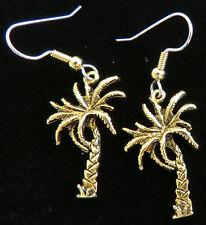 Palm Tree Earrings 24 Karat Gold Plate Vacation Island Paradise