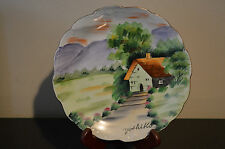 "Vintage Hand Painted Yoshiko Signed 7 7/8"" Plate - House and Mountains #H"