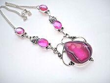 "Mystic Topaz Statement Necklace Silver 18"" Ab Pink Drusy Quartz Agate Rainbow"