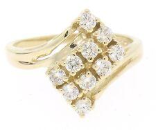 14k ORO AMARILLO .50ctw Redondo Talla de Brillante Engarzado Diamante INTENSO