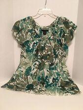 Calvin Klein Jeans Small Womens Top Shirt Blouse 100% Cotton Watercolor Green