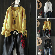 ZANZEA 8-24 Women Floral Embroidered Pullover Top Tee T Shirt Long Sleeve Blouse
