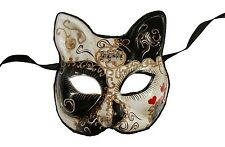 NEW Love Me Hearts Venetian Cat Masquerade Mask Hand Made Black One Size Unisex