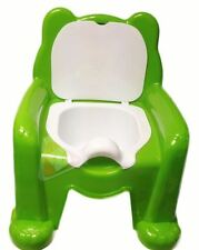 New Green Easy Clean Kids Toddler Bear Potty Training Chair Seat Removable Lid