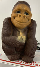 Vintage 1971 New York Vinyl Prod Plastic Gorilla Ape Monkey W/Banana Coin Bank