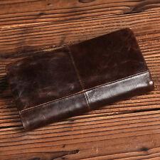 Vintage Men Genuine Leather Long Wallet Cowhide Bifold Zipper Purse Phone Clutch
