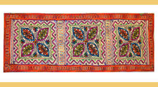 Hand Embroidered Chain Stitched Mirror Cotton Wall Tapestry, Table Runner India