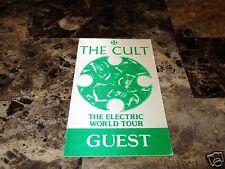 The Cult Rare Electric World Tour Guest Pass Sticker Ian Astbury Billy Duffy !