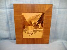 German Marquetry Wood Inlay Picture Landscape Onion Dome Church Signed S