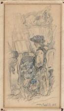JAN POPELIK (1832-1906) Victorian Pencil Drawing 1855 FEMALE PORTRAIT
