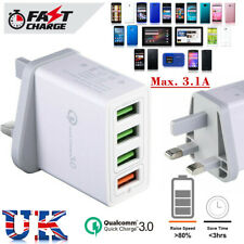 4 USB Ports Quick QC 3.0 Mains Wall Adaptor Fast Charger Power for Phone Tablets