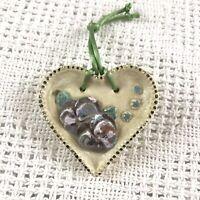 Vintage Floral Heart Purple Pansy Glaze Ceramic Pottery Ornament