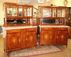 Inlaid Burled Walnut French Vitrine China Cabinet Mother Of Pearl Inlay Marble