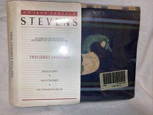 Vintage Stevens ducks Plaid Twin Flat Sheet Ensemble Set USA made New Sealed NOS