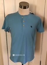 NWT Abercrombie & Fitch Men's ICON HENLEY, Blue, Small