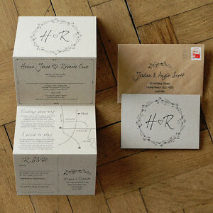 Woodland Story Rustic Wedding Invitation on Kraft Card - optional custom map