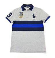 Polo Ralph Lauren Men's Big Pony Custom Slim Fit Polo Shirt In Grey/Blue