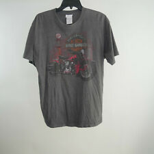 Harley Davidson L T-Shirt Gray Factory Faded Graphic Tee Hanes S/S Crew Neck