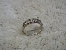 TRS Signed Silvertone Flower Band Ring ~ Size 6.5  (A35)