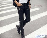 Herren Leder Hosen Slim Fit Motorradhosen plus Samt warm zipper Punk Frühling