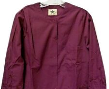 Scrub Jacket Burgundy 2XL Floral Embroidery Round Neck Black Star Ladies New