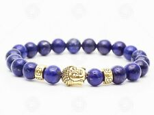 Precious Buddha Lapis Lazuli Bracelet Chakra Gemstone Reiki Healing Gift UK
