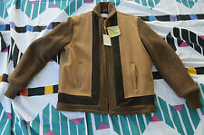 NWT Vtg Napoli Suede Mens Jacket Coat Retro 1950s 40 Faux Fur Lined Wool Trim