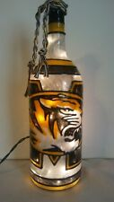 Mizzou Inspiered Hand painted Wine Bottle Lighted Stained Glass look