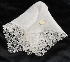 Vintage AUSTRIA Linen with Lace Corners WEDDING HANKIE Handkerchief HANKY Unused