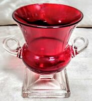 """Red/Cranberry Glass Vase 3.5"""" Tall, w/Clear Handles & Base, Handmade, Vintage"""