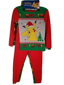 Pokemon Pikachu Christmas Holiday 4pc Pajamas Boys Green Red Candy Cane Sz 4 NEW