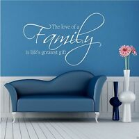 Family Love Life Wall Art Sticker Quote Decal Mural Transfer Graphic WSD419