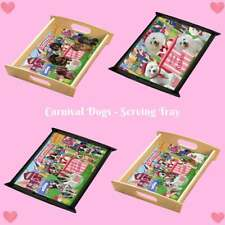 Carnival Kissing Booth Dog Cat Serving Tray, Pet Photo Lovers Kitchen Tray