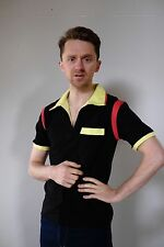 Vintage retro unused S mens cotton knit body bowing shirt polo black yellow NOS