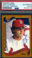 Tony Larussa PSA DNA Autograph 2002 Topps Hand Signed