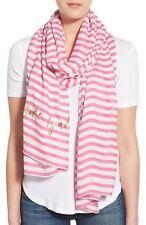 Kate Spade New York Fuchsia Pink & White Striped Scarf NEW Retail $88.00