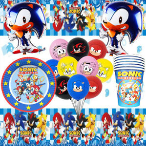 Sonic BIRTHDAY CUP PLATE CUPCAKE balloon party BANNER game supplies TABLE CAKE