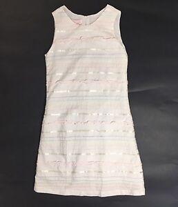 Mally Too girls dress 10 white sleeveless shift ribbons stitching multi color