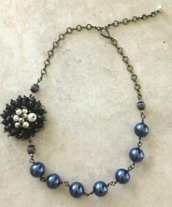 Japanese Artisan Glass Pearl and Beaded Flower Necklace, NWOT $200