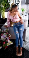 Sexy Highwaist used Look Jeans Damen Jeanshose Hose skinny blau S M L 36 38 40