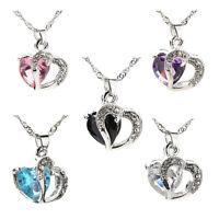 Femmes coeur cristal pendentif chaîne en strass Collier argent mod.FR