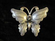 Lovely Gray Enamel Butterfly Brooch Pin Rhinestone