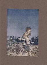 Arthur Rackham 1907 tipped antique print, Peter Pan is the Fairies' Orchestra