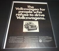 """VW BUG 1950s  LARGE MAGAZINE AD  """"FOR PEOPLE WHO REFUSE THE DRIVE VOLKSWAGENS"""""""