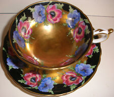 BEAUTIFUL FINE ENGLISH PARAGON CUP & SAUCER GOLD BLACK POPPY POPPIES FLOWERS